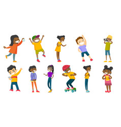 multiracial children set vector image