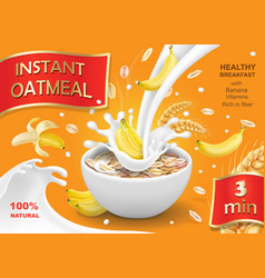Oatmeal muesli with banana and milk splash vector