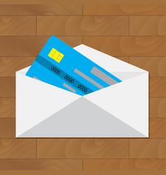 open credit card get card in envelope vector image