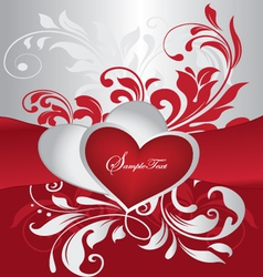 red and silver valentines day card vector image vector image