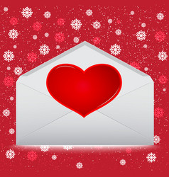 Red heart on envelope with snow on red background vector