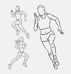 running male and female sport hand drawing vector image vector image