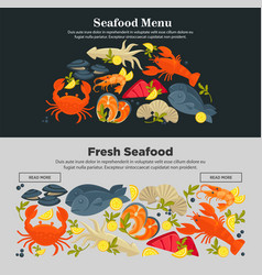 seafood fresh fish menu web site store vector image