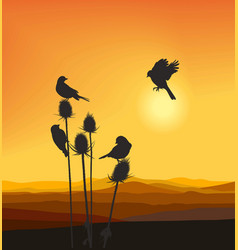 Small birds on a thistle vector