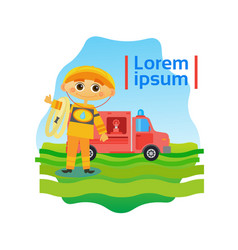 small boy fireman kid fire fighter vector image vector image