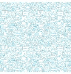 Thin line insurance white seamless pattern vector