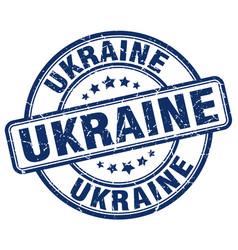 Ukraine blue grunge round vintage rubber stamp vector