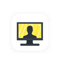 Video call conference icon vector