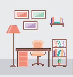 workplace concept work desk equipped with lamp vector image vector image