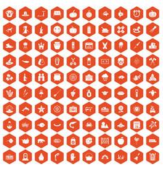 100 autumn holidays icons hexagon orange vector