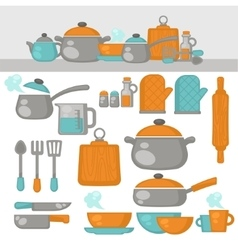 Cooking tools dishes set kitchen equipment vector