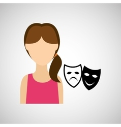 Woman character theatrical mask design vector