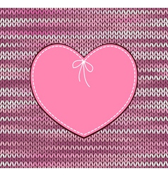 Heart shape design with knitted pattern vector