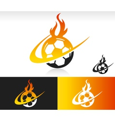 Fire swoosh soccer logo icon vector