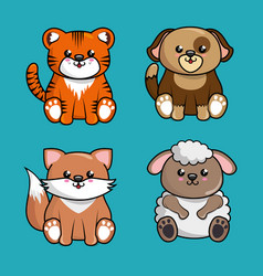 cute animals characters kawaii style vector image