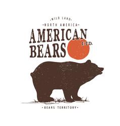 Retro label with bear vector
