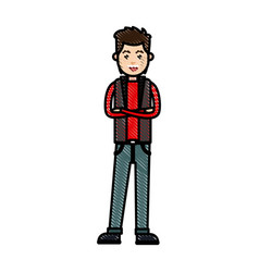 Drawing young man with cross arm wear vest vector
