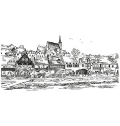 Panoramic view of cesky krumlov vector