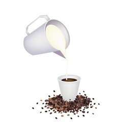 Pour delicious hot coffee by measure cup vector