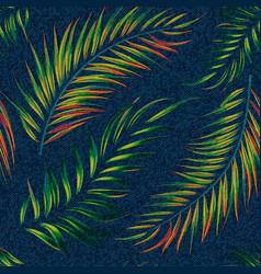 Exotic leaf seamless print on denim backdrop vector