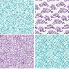 Set of waves and clouds seamless patterns vector