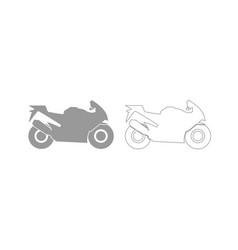 motorcycle grey set icon vector image