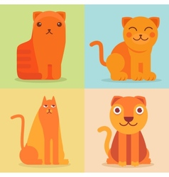 set of flat cat icons and vector image