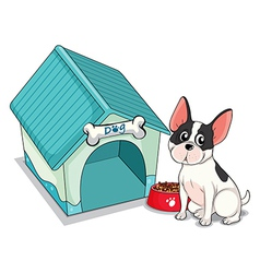 A dog sitting in front of the blue doghouse vector