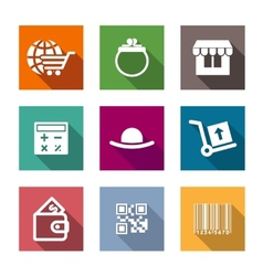 Shopping business flat icons set vector