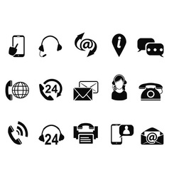 black contact us service icons set vector image