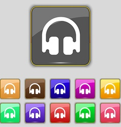 Headphones earphones icon sign set with eleven vector