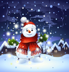 Snowman with garland vector