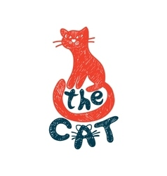 Cat freehand drawing with lettering vector