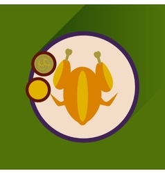 Flat with shadow icon chicken on a plate sauce vector