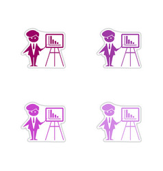 Set of paper stickers on white background man vector