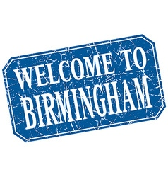 Welcome to birmingham blue square grunge stamp vector