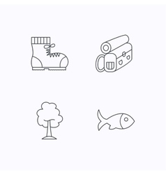 Maple tree fish and hiking boots vector