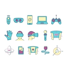 Set of linear icons virtual reality accessories vector