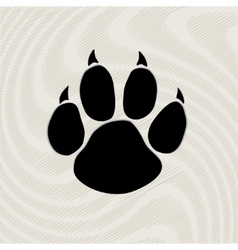 Black animal paw print isolated on pattern vector image vector image