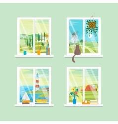 Cartoon Windows Different View Set vector image