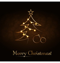 Christmas tree happy new year gold background vector