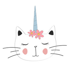 Cute cat unicorn with motif for poster vector