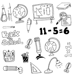 Education toool set in doodle vector