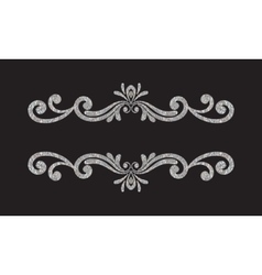 Elegant luxury vintage silver floral border vector image vector image