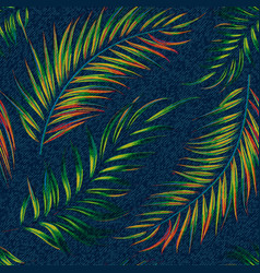 Exotic leaf seamless print on denim backdrop vector