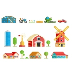 Farm Village Rural Buildings Machinery Trees Icons vector image vector image