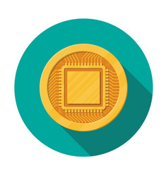 golden coin with computer chip vector image