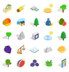 nature without people icons set isometric style vector image