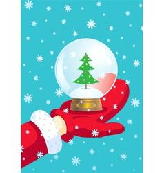 santa claus and snow ball vector image