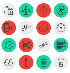 Set of 16 traveling icons includes takeaway vector